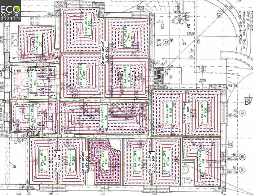 Projekt ogrzewania podłogowego - dom parterowy
